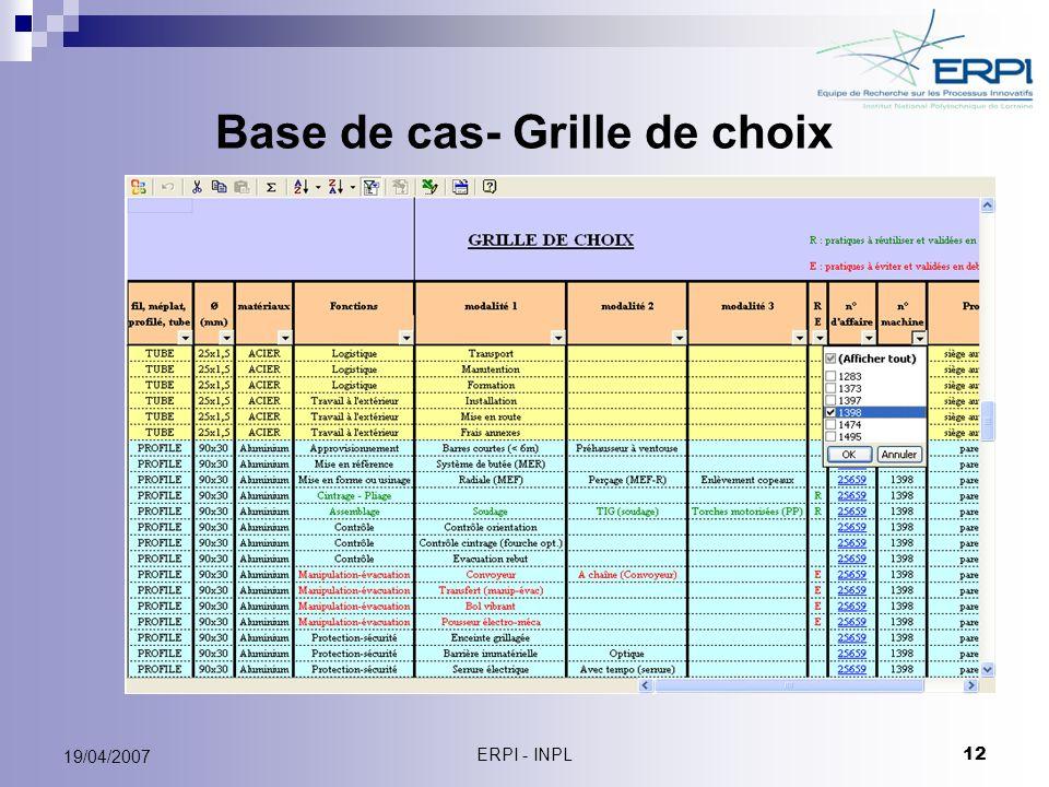 ERPI - INPL 12 19/04/2007 Base de cas- Grille de choix