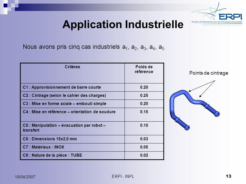 ERPI - INPL 13 19/04/2007 Application Industrielle CritèresPoids de référence C1 : Approvisionnement de barre courte0.20 C2 : Cintrage (selon le cahie