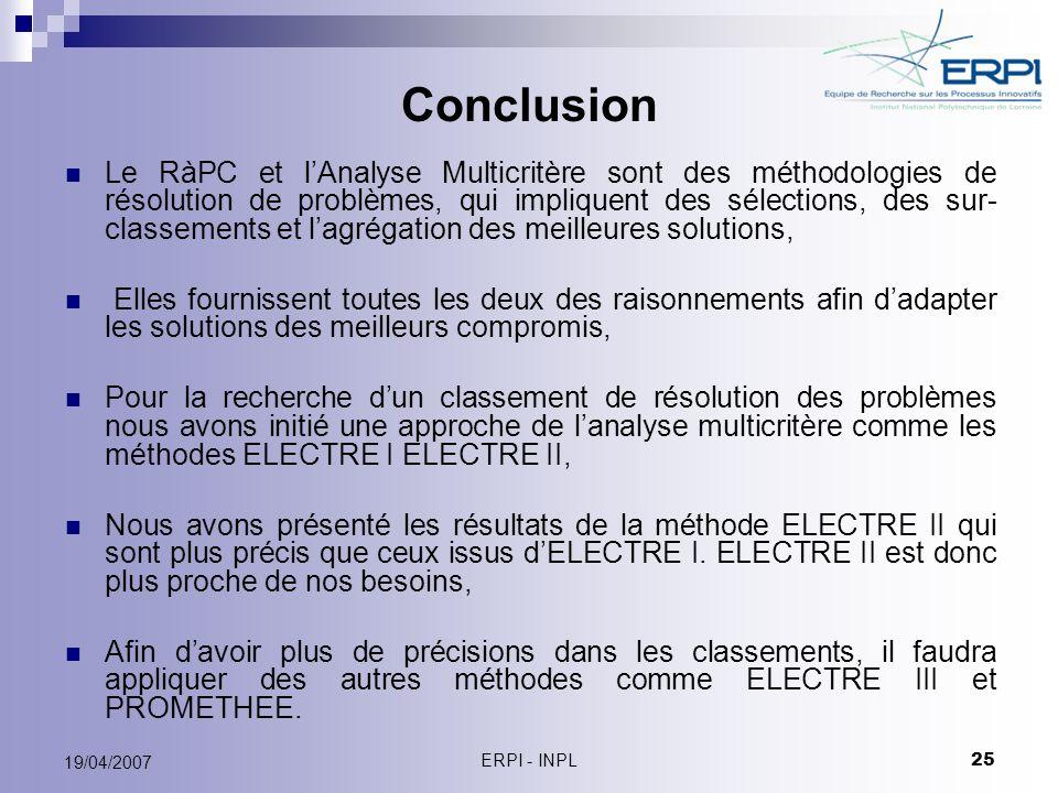 ERPI - INPL 25 19/04/2007 Conclusion Le RàPC et lAnalyse Multicritère sont des méthodologies de résolution de problèmes, qui impliquent des sélections