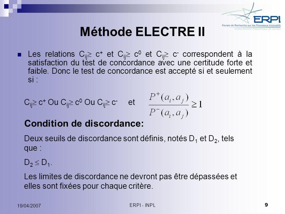ERPI - INPL 9 19/04/2007 Méthode ELECTRE II Les relations C ij c + et C ij c 0 et C ij c - correspondent à la satisfaction du test de concordance avec
