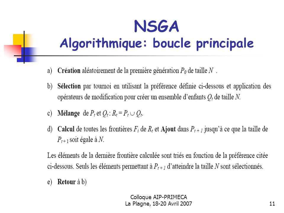 Colloque AIP-PRIMECA La Plagne, 18-20 Avril 200711 NSGA Algorithmique: boucle principale Algorithme du NSGA-II (Deb et al., 2002)