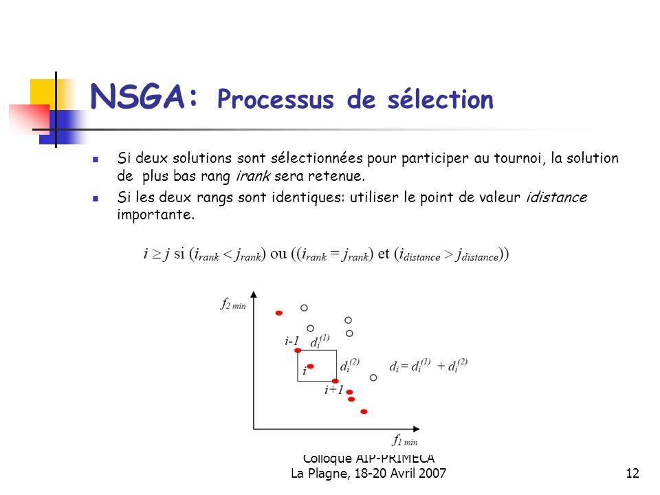 Colloque AIP-PRIMECA La Plagne, 18-20 Avril 200712 NSGA: Processus de sélection Si deux solutions sont sélectionnées pour participer au tournoi, la so