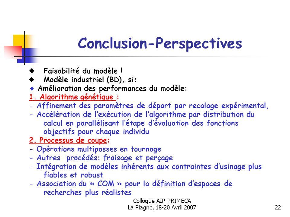 Colloque AIP-PRIMECA La Plagne, 18-20 Avril 200722 Conclusion-Perspectives Faisabilité du modèle ! Modèle industriel (BD), si: Amélioration des perfor