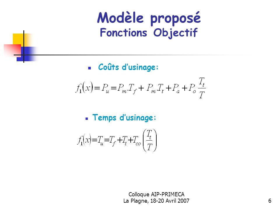 Colloque AIP-PRIMECA La Plagne, 18-20 Avril 20076 Modèle proposé Fonctions Objectif Coûts dusinage: Temps dusinage: