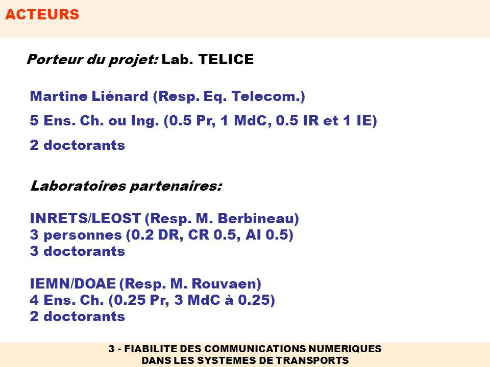ACTEURS 3 - FIABILITE DES COMMUNICATIONS NUMERIQUES DANS LES SYSTEMES DE TRANSPORTS Laboratoires partenaires: INRETS/LEOST (Resp. M. Berbineau) 3 pers
