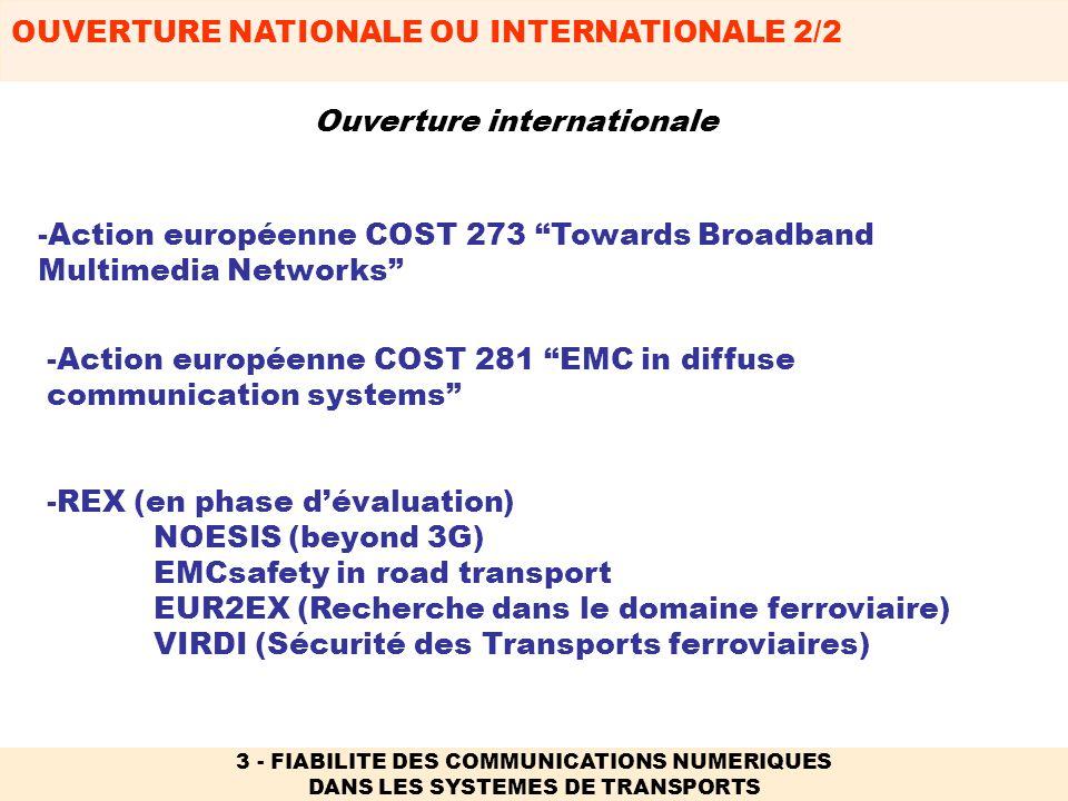 OUVERTURE NATIONALE OU INTERNATIONALE 2/2 3 - FIABILITE DES COMMUNICATIONS NUMERIQUES DANS LES SYSTEMES DE TRANSPORTS -REX (en phase dévaluation) NOES