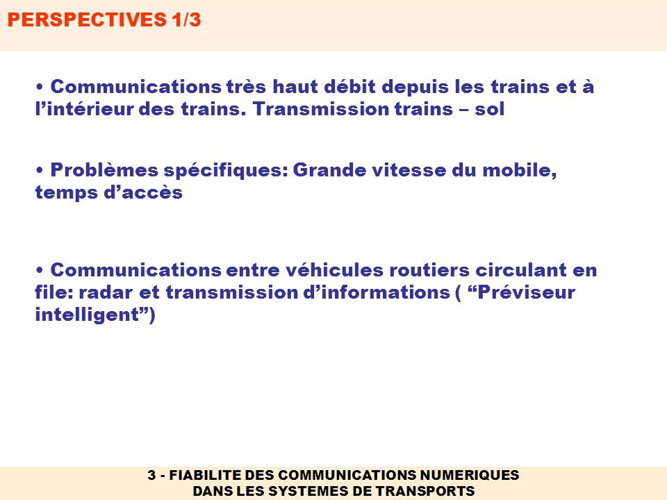 PERSPECTIVES 1/3 3 - FIABILITE DES COMMUNICATIONS NUMERIQUES DANS LES SYSTEMES DE TRANSPORTS Communications entre véhicules routiers circulant en file