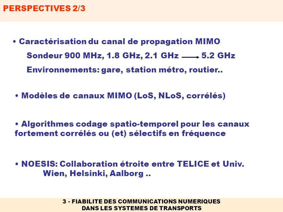 PERSPECTIVES 2/3 3 - FIABILITE DES COMMUNICATIONS NUMERIQUES DANS LES SYSTEMES DE TRANSPORTS NOESIS: Collaboration étroite entre TELICE et Univ. Wien,