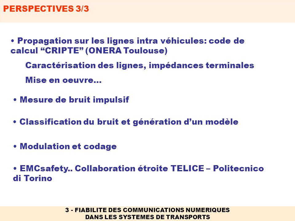 PERSPECTIVES 3/3 3 - FIABILITE DES COMMUNICATIONS NUMERIQUES DANS LES SYSTEMES DE TRANSPORTS EMCsafety.. Collaboration étroite TELICE – Politecnico di