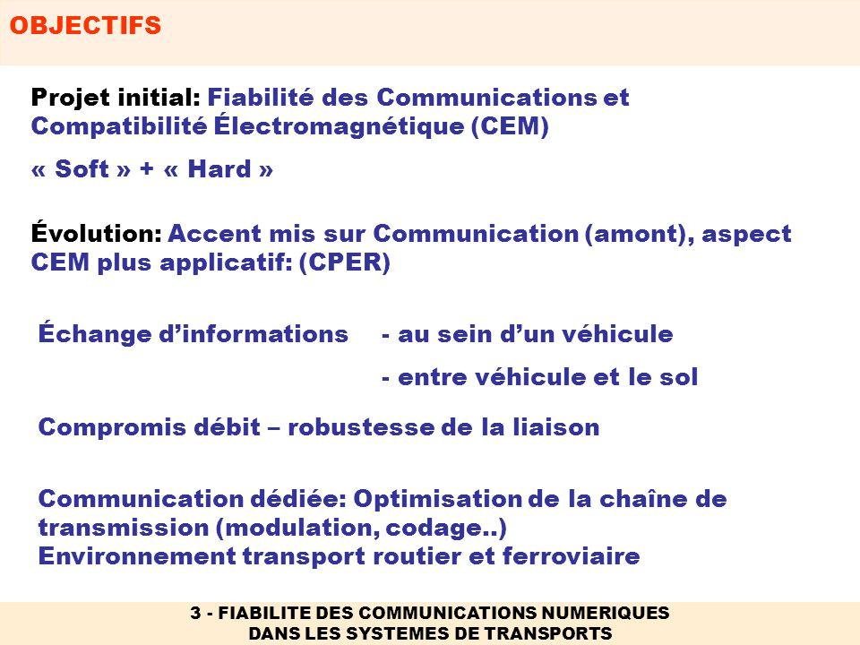 OUVERTURE NATIONALE OU INTERNATIONALE 2/2 3 - FIABILITE DES COMMUNICATIONS NUMERIQUES DANS LES SYSTEMES DE TRANSPORTS -REX (en phase dévaluation) NOESIS (beyond 3G) EMCsafety in road transport EUR2EX (Recherche dans le domaine ferroviaire) VIRDI (Sécurité des Transports ferroviaires) Ouverture internationale -Action européenne COST 273 Towards Broadband Multimedia Networks -Action européenne COST 281 EMC in diffuse communication systems