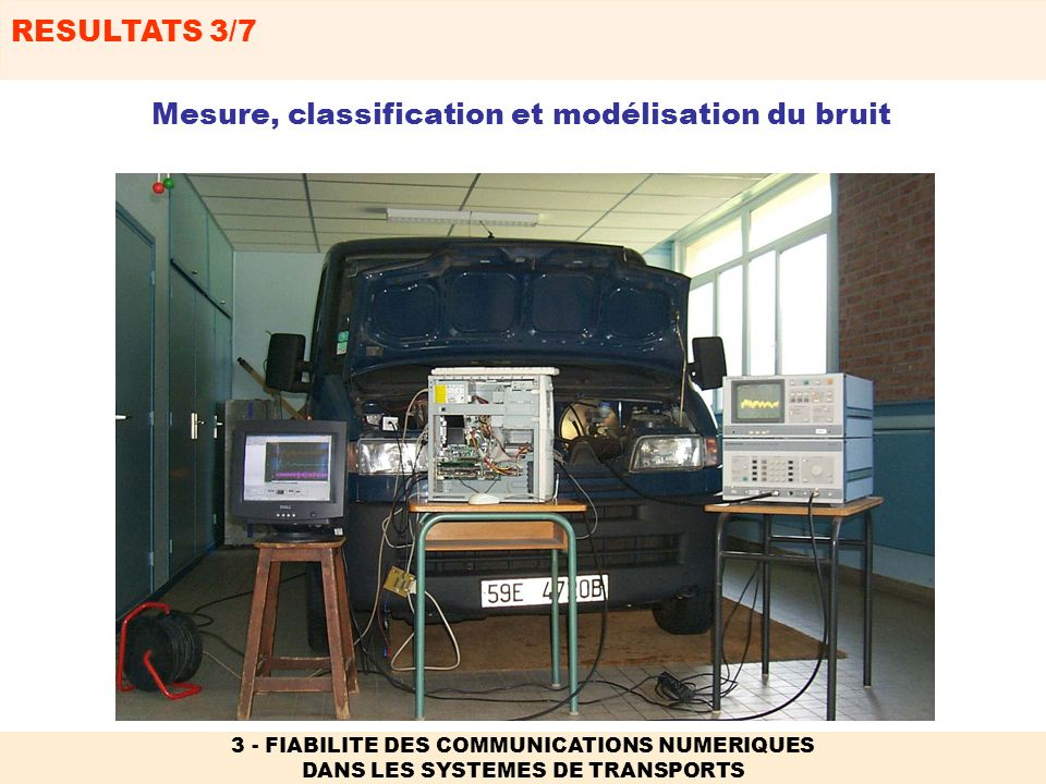 RESULTATS 4/7 3 - FIABILITE DES COMMUNICATIONS NUMERIQUES DANS LES SYSTEMES DE TRANSPORTS 2) Transmission sol-train, sol-véhicule, véhicule-véhicule Utilisation dantennes multiples à lémission et à la réception (MIMO): TEB Débit Encodeur n T Décodeur n R Performances fortement dépendantes de lenvironnement - Caractérisation du milieu (sondeur de canal).