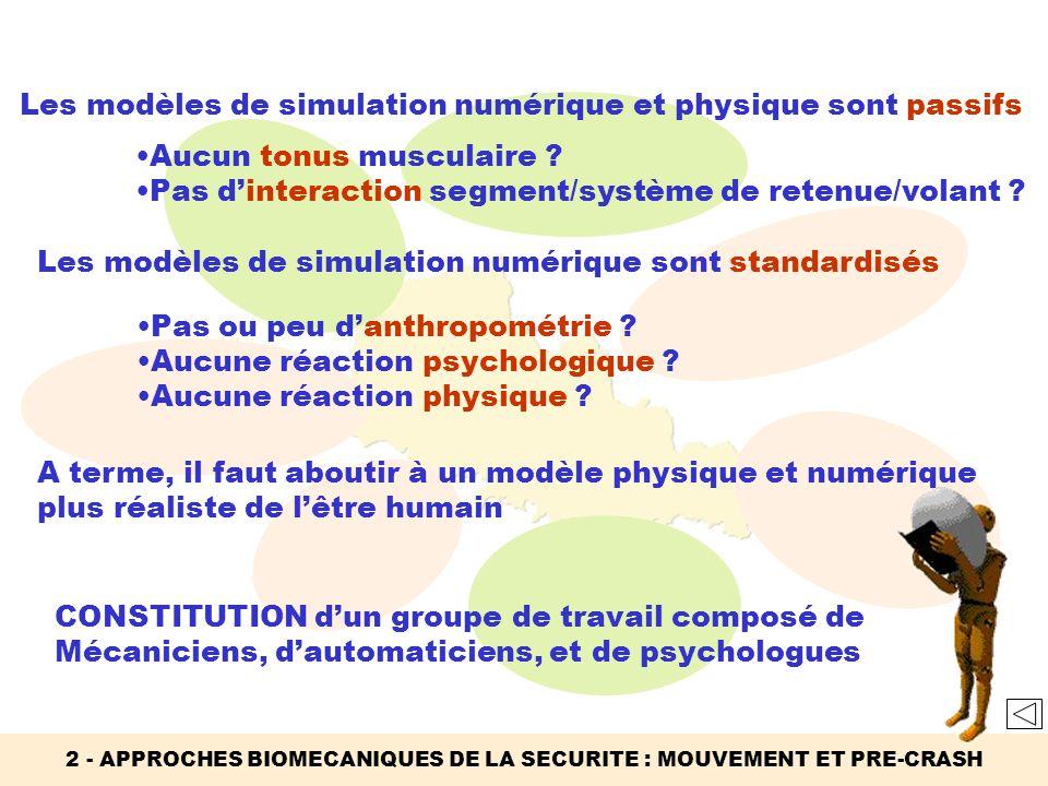 Les modèles de simulation numérique et physique sont passifs Aucun tonus musculaire ? Pas dinteraction segment/système de retenue/volant ? Les modèles
