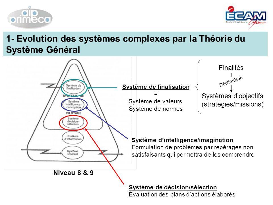 Niveau 8 & 9 Système de finalisation = Système de valeurs Système de normes Finalités Systèmes dobjectifs (stratégies/missions) Déclinaison Système di