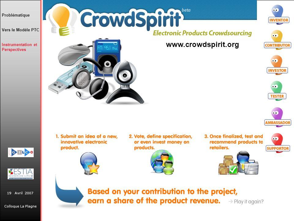 19 Avril 2007 Colloque La Plagne Problématique Vers le Modèle PTC Instrumentation et Perspectives www.crowdspirit.org