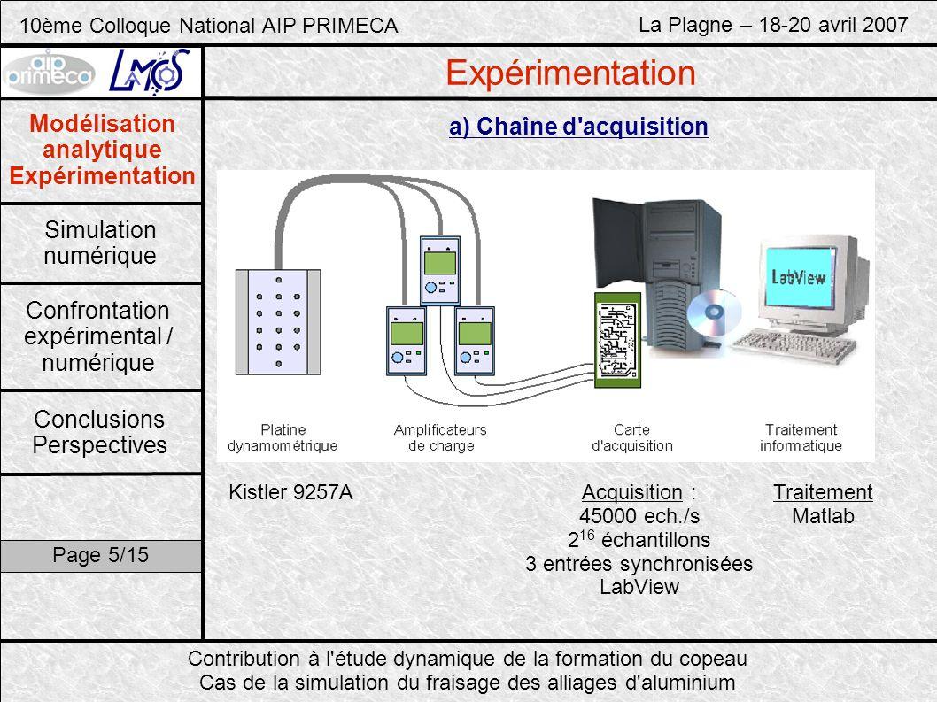 10ème Colloque National AIP PRIMECA La Plagne – 18-20 avril 2007 Contribution à l étude dynamique de la formation du copeau Cas de la simulation du fraisage des alliages d aluminium Modélisation analytique Expérimentation Simulation numérique Confrontation expérimental / numérique Conclusions Perspectives Page 6/15 Expérimentation b) Traitement du signal Signal brut (Fx,Fy) Signal transposé (Fr,Ft) FFT (FFr,FFt) |FFT(Ft)| Problème : vision globale dun phénomène discontinu (coupe interrompue)