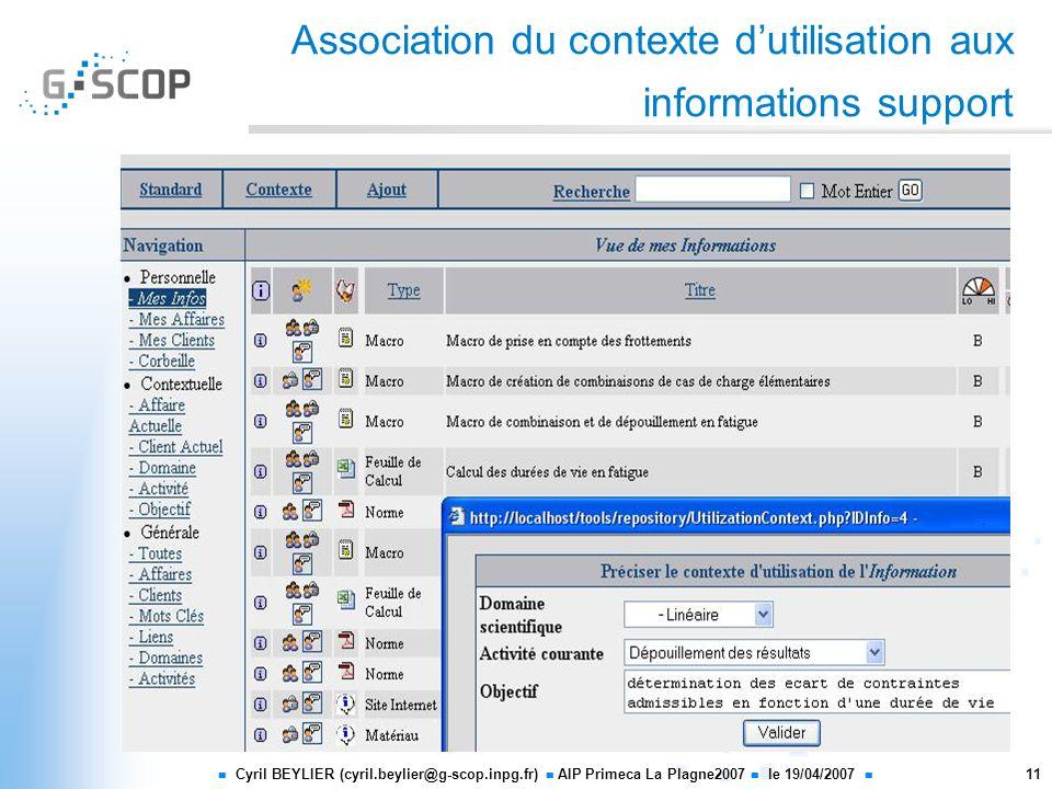 Cyril BEYLIER (cyril.beylier@g-scop.inpg.fr) AIP Primeca La Plagne2007 le 19/04/2007 11 Association du contexte dutilisation aux informations support
