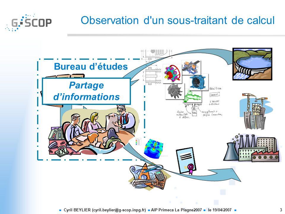 Cyril BEYLIER (cyril.beylier@g-scop.inpg.fr) AIP Primeca La Plagne2007 le 19/04/2007 3 Observation d'un sous-traitant de calcul Bureau détudes Partage