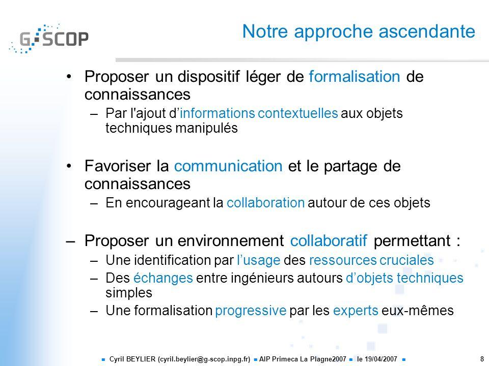 Cyril BEYLIER (cyril.beylier@g-scop.inpg.fr) AIP Primeca La Plagne2007 le 19/04/2007 8 Notre approche ascendante Proposer un dispositif léger de forma