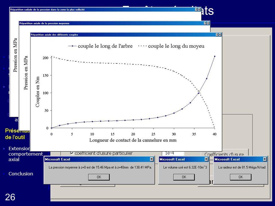 Elaboration de la méthode oComportement radial Conclusion Présentation de loutil Démarche oComportement axial 26 Extension du comportement axial Compo
