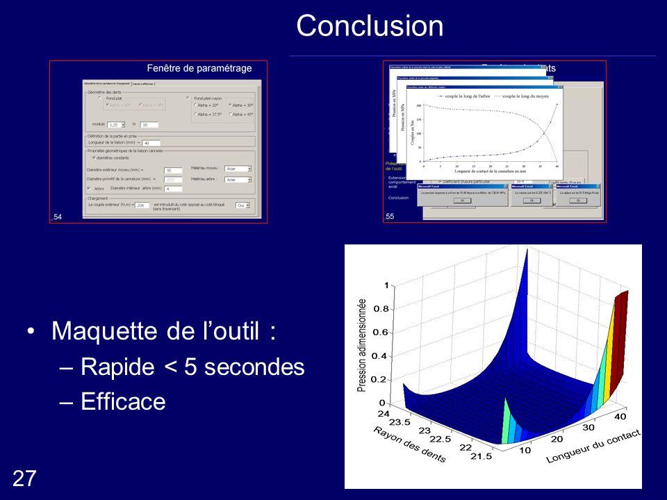 Conclusion Maquette de loutil : –Rapide < 5 secondes –Efficace 27