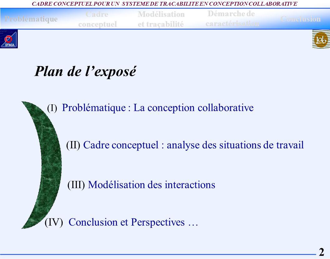 2 CADRE CONCEPTUEL POUR UN SYSTEME DE TRACABILITE EN CONCEPTION COLLABORATIVE (IV) Conclusion et Perspectives … (I) Problématique : La conception coll
