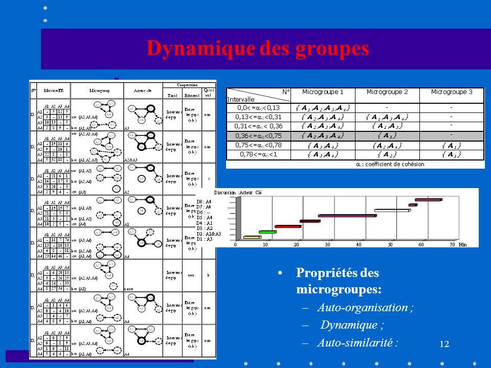 E. OSTROSI UTBM 12 Dynamique des groupes Propriétés des microgroupes: –Auto-organisation ; – Dynamique ; –Auto-similarité :