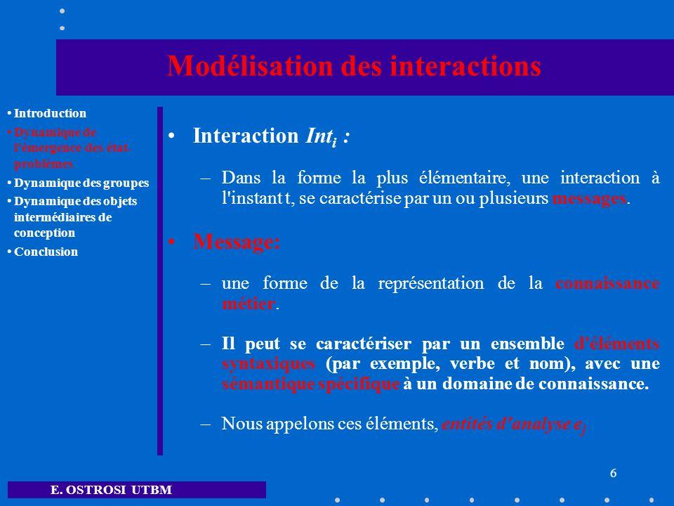 E. OSTROSI UTBM 6 Modélisation des interactions Interaction Int i : –Dans la forme la plus élémentaire, une interaction à l'instant t, se caractérise