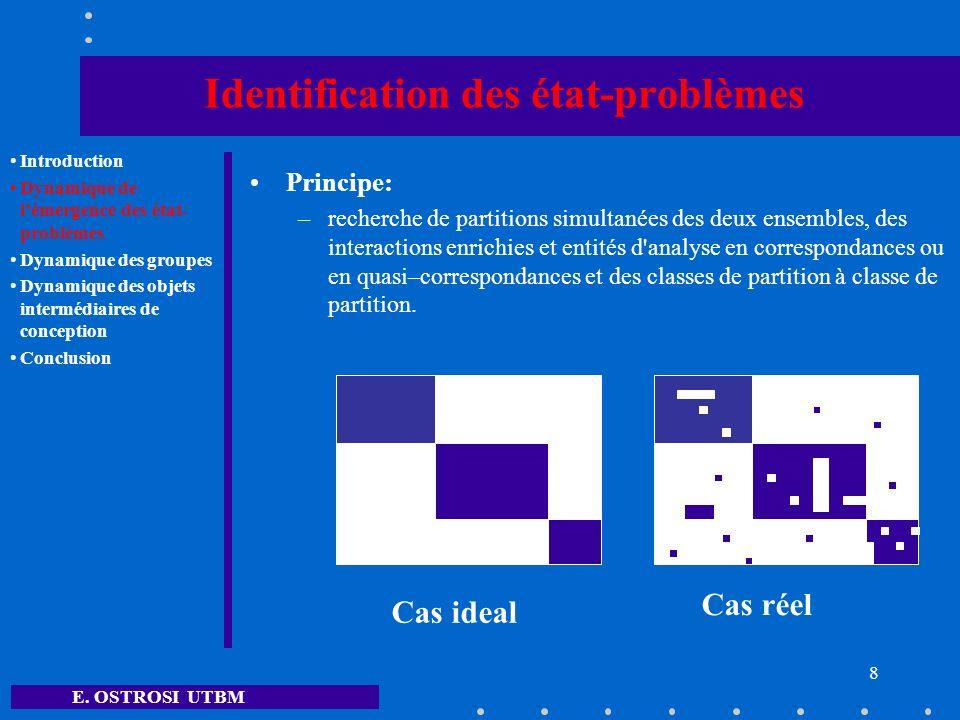 E. OSTROSI UTBM 8 Identification des état-problèmes Principe: –recherche de partitions simultanées des deux ensembles, des interactions enrichies et e