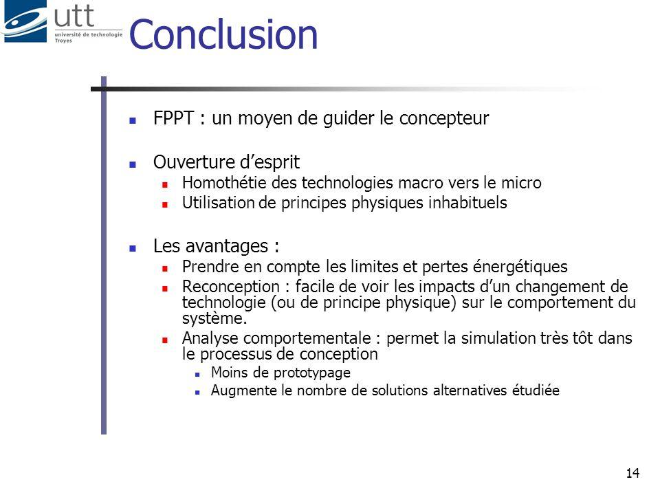 14 Conclusion FPPT : un moyen de guider le concepteur Ouverture desprit Homothétie des technologies macro vers le micro Utilisation de principes physi