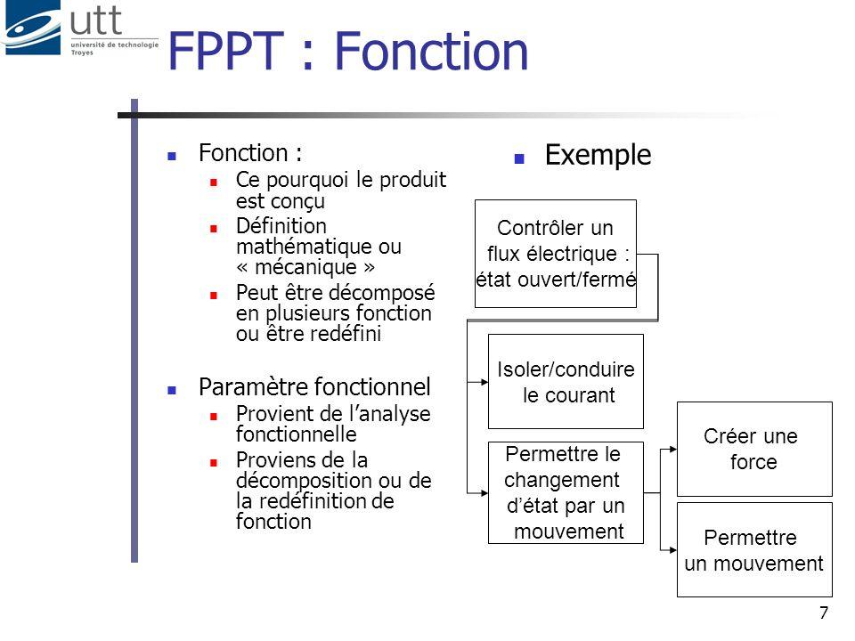 7 FPPT : Fonction Fonction : Ce pourquoi le produit est conçu Définition mathématique ou « mécanique » Peut être décomposé en plusieurs fonction ou êt