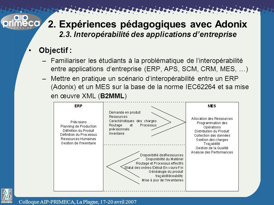 Colloque AIP-PRIMECA, La Plagne, 17-20 avril 2007 2. Expériences pédagogiques avec Adonix 2.3. Interopérabilité des applications dentreprise Objectif