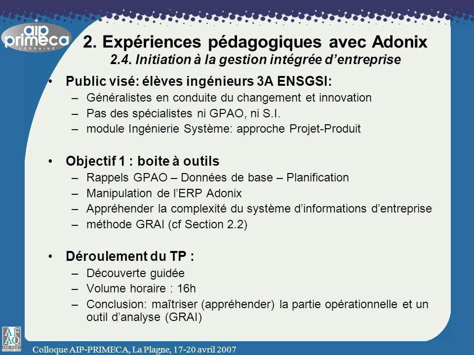 Colloque AIP-PRIMECA, La Plagne, 17-20 avril 2007 2. Expériences pédagogiques avec Adonix 2.4. Initiation à la gestion intégrée dentreprise Public vis