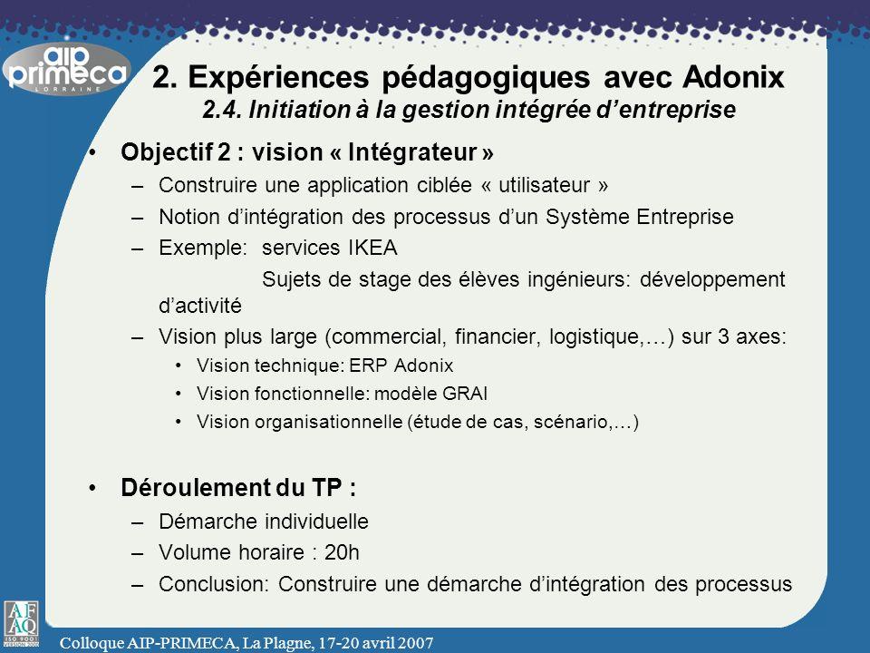 Colloque AIP-PRIMECA, La Plagne, 17-20 avril 2007 2. Expériences pédagogiques avec Adonix 2.4. Initiation à la gestion intégrée dentreprise Objectif 2