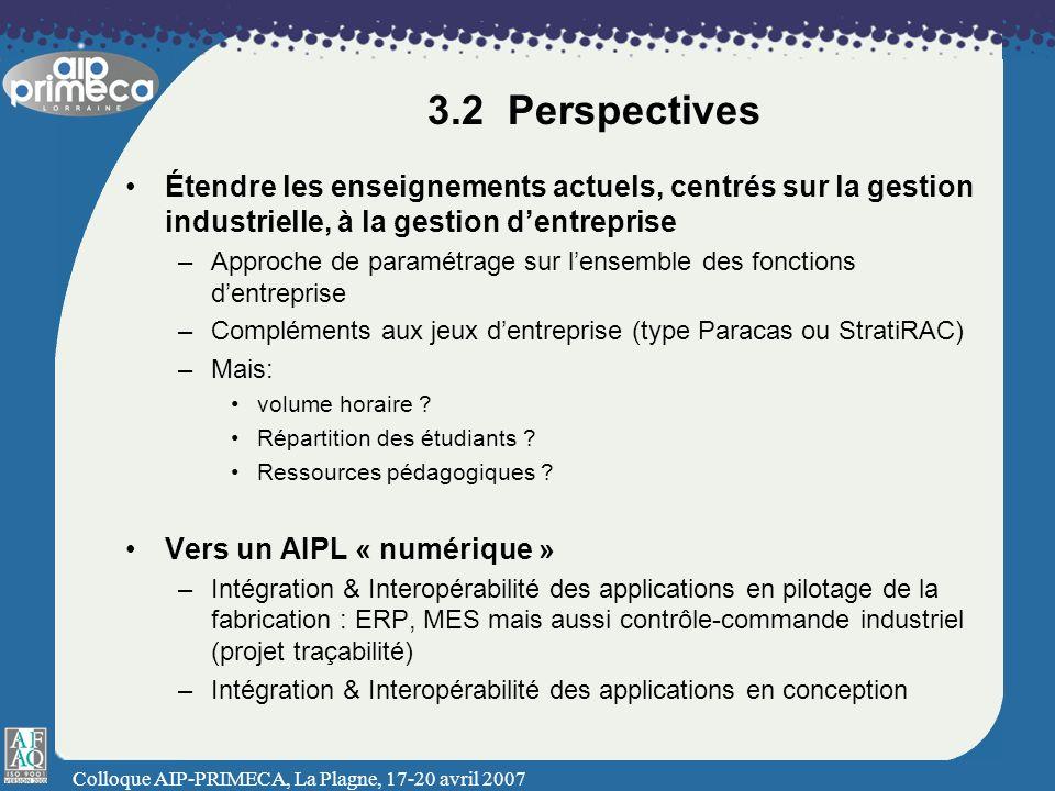 Colloque AIP-PRIMECA, La Plagne, 17-20 avril 2007 3.2 Perspectives Étendre les enseignements actuels, centrés sur la gestion industrielle, à la gestio