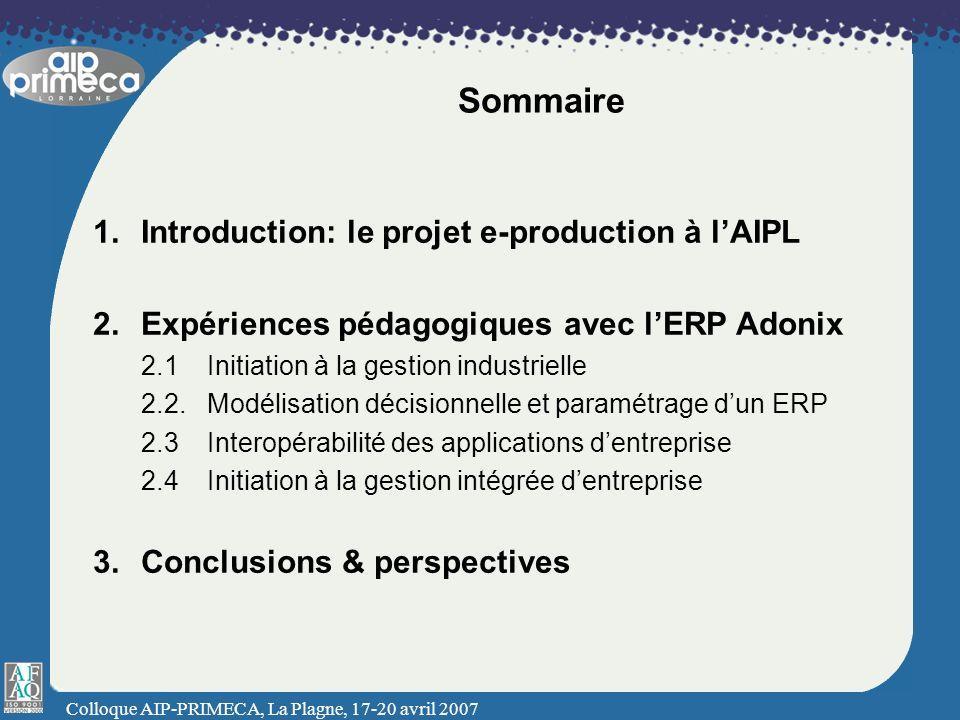 Colloque AIP-PRIMECA, La Plagne, 17-20 avril 2007 Sommaire 1.Introduction: le projet e-production à lAIPL 2.Expériences pédagogiques avec lERP Adonix