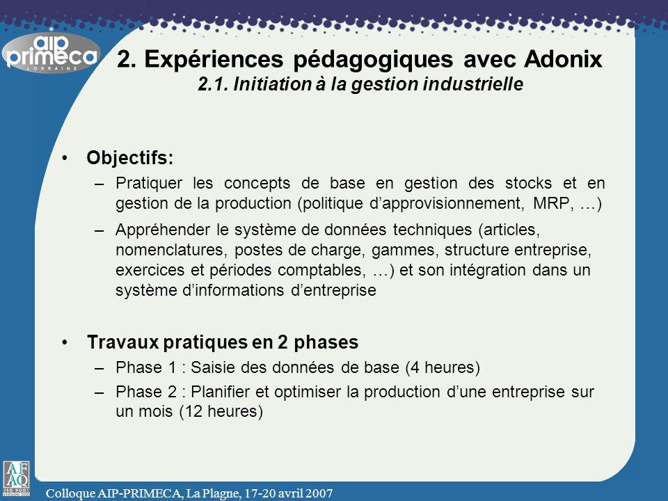 Colloque AIP-PRIMECA, La Plagne, 17-20 avril 2007 2. Expériences pédagogiques avec Adonix 2.1. Initiation à la gestion industrielle Objectifs: –Pratiq