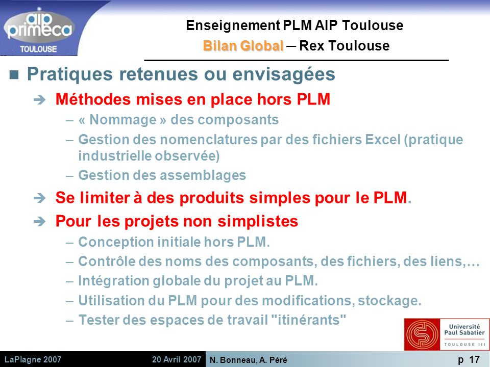N. Bonneau, A. Péré p 17 LaPlagne 2007 20 Avril 2007 Bilan Global Enseignement PLM AIP Toulouse Bilan Global Rex Toulouse Pratiques retenues ou envisa