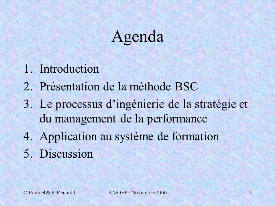 C.Pourcel & R.RenauldAMOEP - Novembre 20062 Agenda 1.Introduction 2.Présentation de la méthode BSC 3.Le processus dingénierie de la stratégie et du management de la performance 4.Application au système de formation 5.Discussion