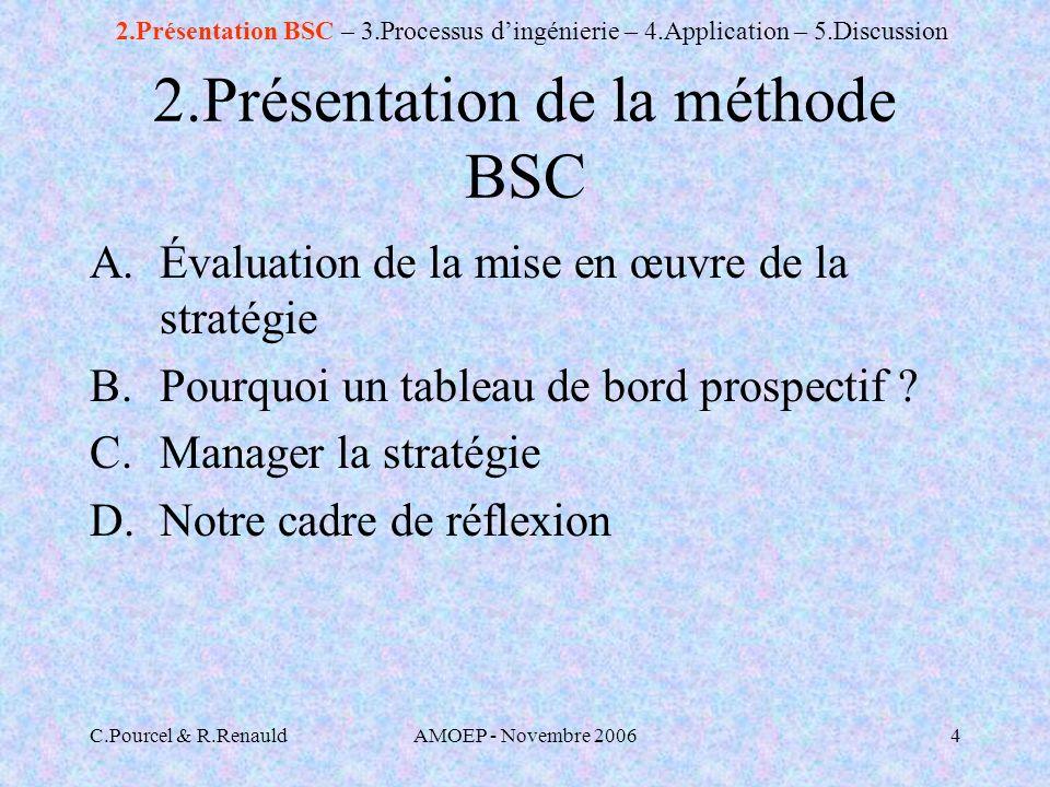 C.Pourcel & R.RenauldAMOEP - Novembre 20064 2.Présentation de la méthode BSC A.Évaluation de la mise en œuvre de la stratégie B.Pourquoi un tableau de bord prospectif .