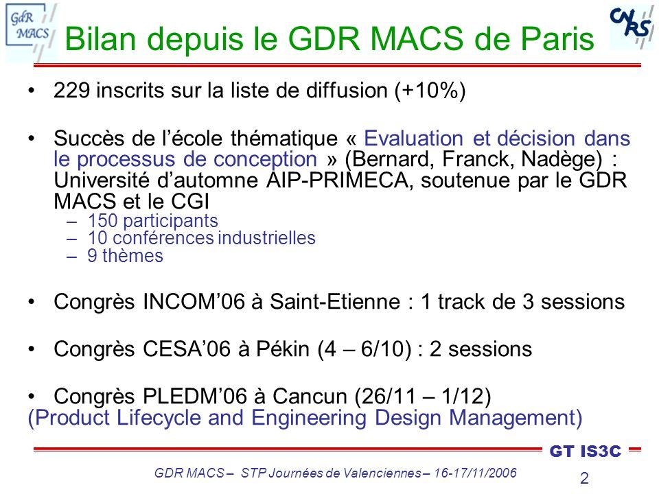 3 GT IS3C GDR MACS – STP Journées de Valenciennes – 16-17/11/2006 Projets du GT IS3C Suites de lécole : 3 ouvrages en chantier Réponse à lappel à projets du GDR MACS : –Interopérabilité de systèmes : gestion de linformation dans les projets de conception –Plateforme PICS-PPO + PLM Advitium Réunions par thème Implication dans les JN-JD MACS de juillet à Reims Prix de meilleures thèses Changement dun co-animateur du GT IS3C (Michel)