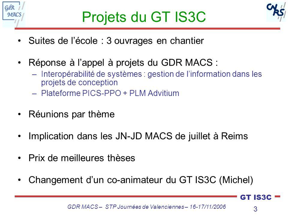 3 GT IS3C GDR MACS – STP Journées de Valenciennes – 16-17/11/2006 Projets du GT IS3C Suites de lécole : 3 ouvrages en chantier Réponse à lappel à proj