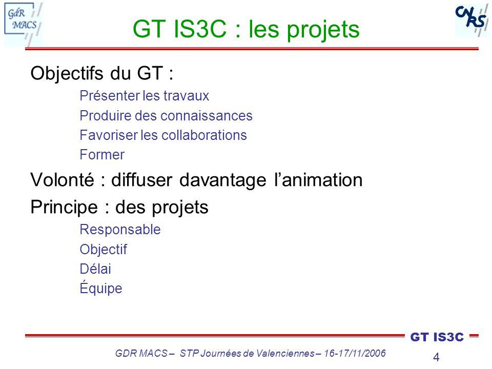 4 GT IS3C GDR MACS – STP Journées de Valenciennes – 16-17/11/2006 GT IS3C : les projets Objectifs du GT : Présenter les travaux Produire des connaissa
