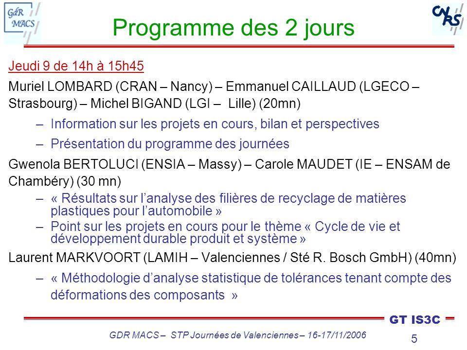 5 GT IS3C GDR MACS – STP Journées de Valenciennes – 16-17/11/2006 Programme des 2 jours Jeudi 9 de 14h à 15h45 Muriel LOMBARD (CRAN – Nancy) – Emmanue