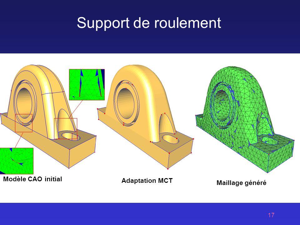 17 Support de roulement Modèle CAO initial Adaptation MCT Maillage généré