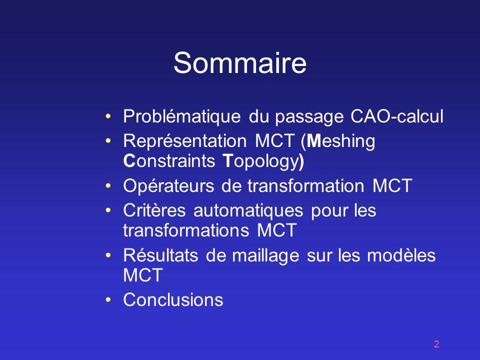 2 Sommaire Problématique du passage CAO-calcul Représentation MCT (Meshing Constraints Topology) Opérateurs de transformation MCT Critères automatiques pour les transformations MCT Résultats de maillage sur les modèles MCT Conclusions