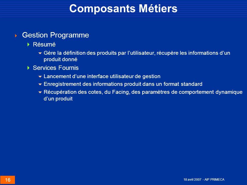 16 18 avril 2007 - AIP PRIMECA Composants Métiers Gestion Programme Résumé Gère la définition des produits par lutilisateur, récupère les informations