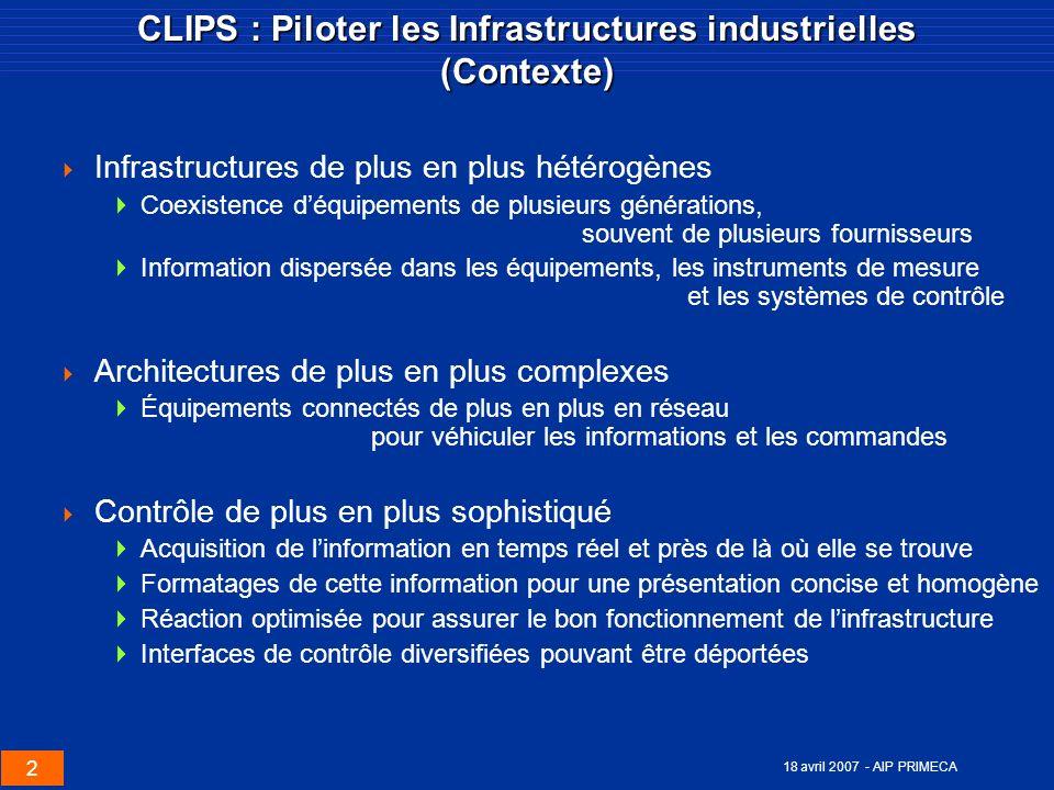 2 18 avril 2007 - AIP PRIMECA CLIPS : Piloter les Infrastructures industrielles (Contexte) Infrastructures de plus en plus hétérogènes Coexistence déq