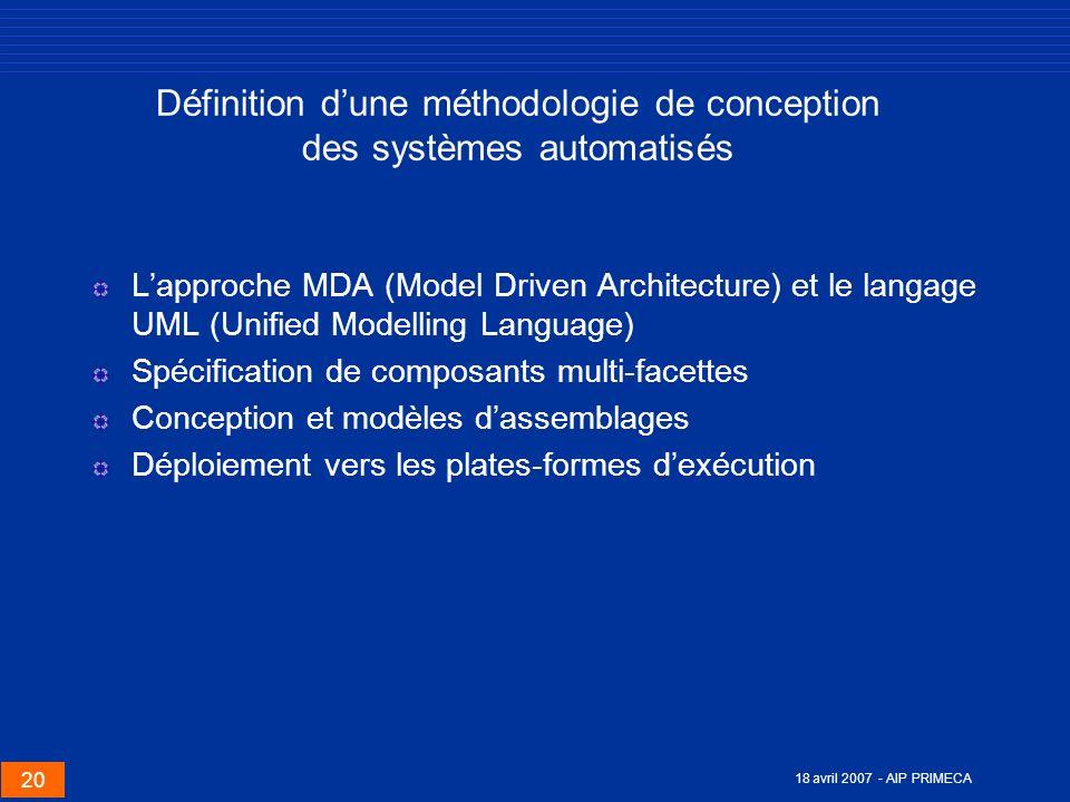 20 18 avril 2007 - AIP PRIMECA Définition dune méthodologie de conception des systèmes automatisés Lapproche MDA (Model Driven Architecture) et le lan