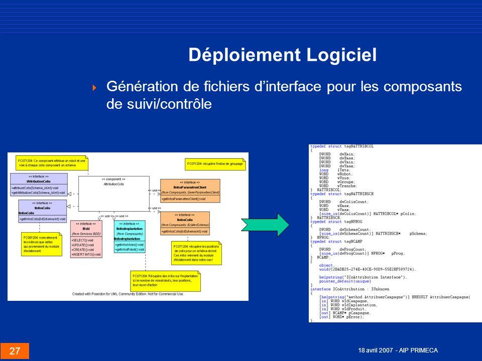 27 18 avril 2007 - AIP PRIMECA Déploiement Logiciel Génération de fichiers dinterface pour les composants de suivi/contrôle