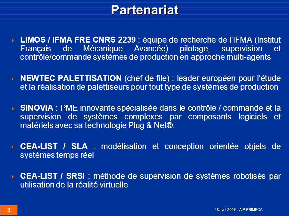 3 18 avril 2007 - AIP PRIMECAPartenariat LIMOS / IFMA FRE CNRS 2239 : équipe de recherche de lIFMA (Institut Français de Mécanique Avancée) pilotage,